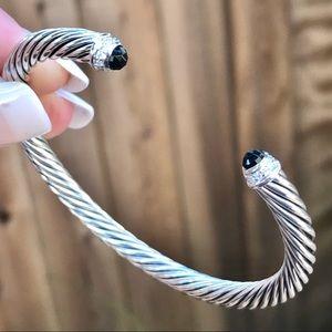 David Yurman 5mm Cable Cuff Black Onyx & Diamonds